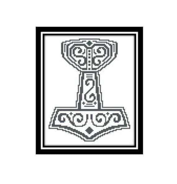 Viking Cross Stitch Pattern Thor Hammer Of Thor Mjlnir God Of