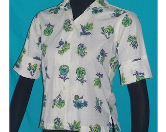 Shapely Classic White Button Front Blouse Top Vintage 50s B39 S Floral