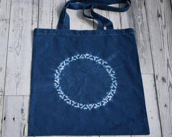 Indigo blue shibori tote bag, Ninbasu (nimbus) shibori tote bag, tie dye bag, indigo shibori, cotton tote bag, FREE SHIPPING