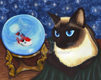 Siamese Cat Art Seal Point Siamese Cat Painting Crystal Ball Koi Fantasy Big Eye Art Fantasy Cat Art Print 12x16 Cat Lovers Art