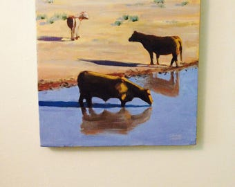 cattle painting, cow painting, oil painting of cattle, oil painting of cows, western oil painting