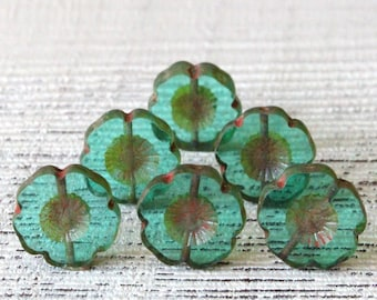 Czech Flower Beads For Jewelry Making - Czech Glass Beads - 14mm Hawaiin Flower Beads - Transparent Seafoam  (10 or 4 beads)