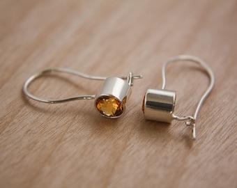 Citrine and sterling silver earrings / citrine / yellow / earring / hook earrings / beautiful / stone