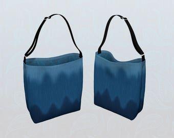 Blue Tote Bag, Faux Denim Blue Jean Wave Pattern and Primitive Paisley Soft Neoprene Over the Shoulder Carryall Shoulder Bag