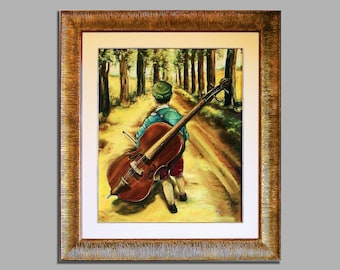 """Oil painting on canvas, """"The little musician"""""""