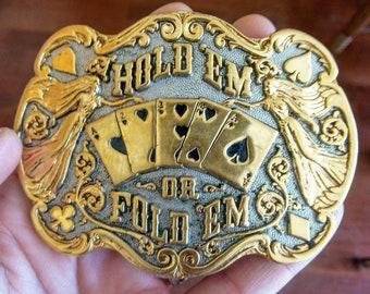 Vintage Belt Buckle/24KGP Belt Buckle/Gambler Belt Buckle/Men's Belt Buckle/Casino Buckle/Playing Cards Belt Buckle/Men's Ornate Belt Buckle