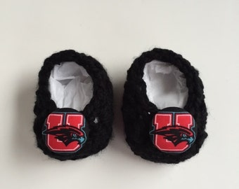 University of Utah baby booties, Utes baby gift, baby booties, infant shoes, crochet baby booties, booties for baby, crochet baby shoes