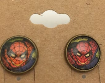Recycled Comic Book inspired earrings Spiderman