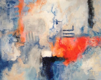 Original Abstract Painting - Blue & Orange