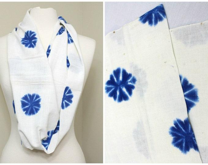 Indigo Shibori Cotton. Japanese Vintage Folk Textile (Ref: 1709)