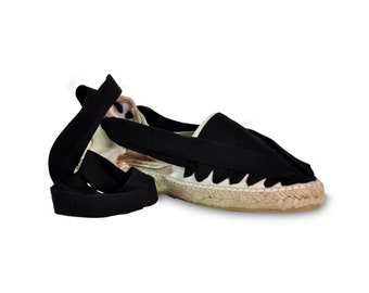 lace up espadrilles  - black - , lace-up sandals, espadrilles, espadrilles with laces, lace up wedges, wedge sandals, wedges