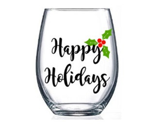 Stemless Wine Glasses / Gifts for Her / Holiday Personalized Wine Glasses / gifts / Home & Living / Holiday Glasses / Christmas Glass