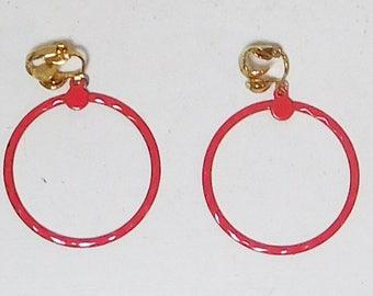 Clip On Red Hoop Earrings Mod Pop Art Large Enameled, Painted Metal, Hippie Jewelry, Boho Earrings, Never Worn, Vintage Jewelry, 1 1/2