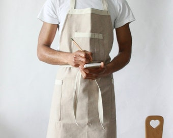 LIMITED EDITION- Soft Beige Denim Apron, Mens apron
