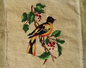 Vintage Antique  Needlepoint Bird