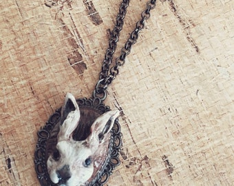 One Of A Kind ~ hand made carved white rabbit pendant necklace on 24 inch chain By Brooke Baker