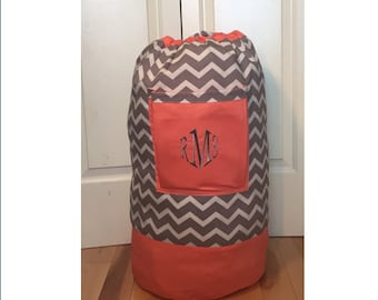 Monogrammed Laundry Duffel Bag, Coral, Gray & White Chevron, Laundry Bag, Laundry Bag for College, Hanging Laundry Bag, Laundry Hamper