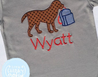Boy Outfit - Back To School Shirt - Dog with Backpack + Personalization Applique Shirt on Grey
