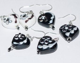 Black and White Heart Earrings, Ceramic Heart Earrings, Valentine Gift for her