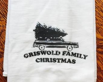 Funny holiday Christmas tea towel: Griswold Family Christmas