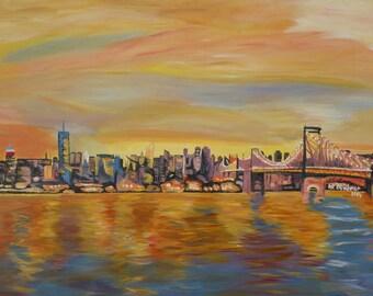 Golden Manhattan Skyline with One World Trade Center and Manhattan Bridge - Limited Edition Fine Art Print