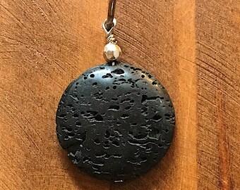BLACK DISC LAVA, lava rock pendant, diffuser pendant, lava rock diffuser, lava bead pendant, lava zipper pull, lava pendant, lava keychain