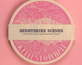 Derbyshire Scenes Letterpress Coaster Set