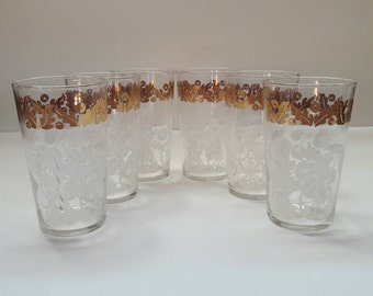 Vintage Federal Glass Juice Glasses White Fruit Gold Leaves, Tumblers, Drinking Glasses, Set of 6