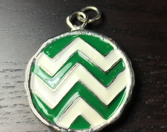 Green and White Round Chevron Pendant