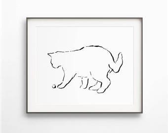 Black and White, Cat Drawing, Cat Line Art, Simple Art, Cat Sketch Art Print, Ink Drawing Cat, Cat Silhouette, Wall Art Print, DIGITAL FILE