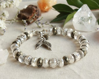 Iced Quartz Pyrite Bracelet, 925 Sterling Silver, crystal clear gemstone, angel wings charm, boho luxe, gift for her, mother's day gift,4655
