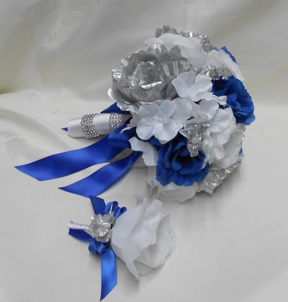 Royal Blue And Silver Wedding Ideas: Wedding Bridal Bouquet Your Colors 2 Pieces Silver Peonies