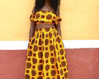 Bukky Crop Top and Maxi Skirt (African Ankara 2-piece)
