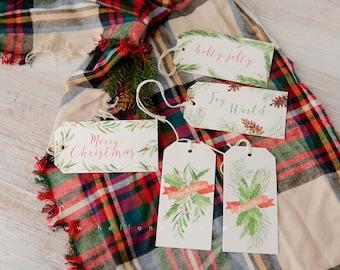 Elegant Christmas Watercolor Gift Wine Tags 5 pack