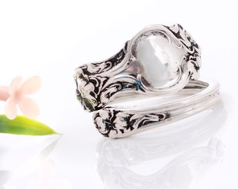 Vintage Sterling Silver Spoon Ring - Violet Sterling Spoon Ring - Sterling Silver Spoon Ring - Silverware Spoon Ring - Sterling Ring mcfS47