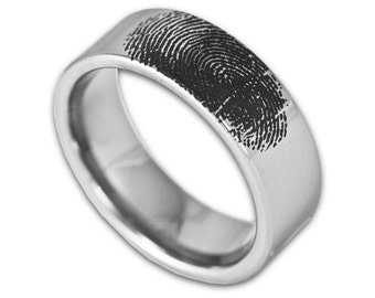 Custom Engraved Fingerprint Wedding Band Mens 8MM Tungsten Pipe Cut Ring