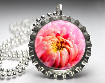 Pink Flower Blossom Bottlecap Pendant Necklace Jewelry - Free Ball Chain