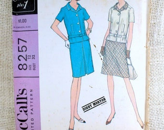 McCall's 8257, bust 32, two piece suit, digby morton, vintage sewing pattern, drop waist dress, inverted pleat skirt, jackie kennedy dress