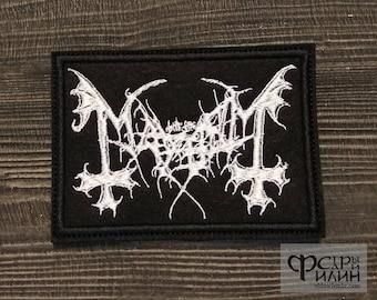 Patch Mayhem logo black metal band.