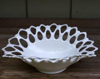 Vintage Westmoreland Doric Milk Glass Open Lace Oval Fruit Bowl