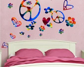 Bedroom Peace Sign Vinyl Wall Decals Designs Peace Sign Decal Murals Hippie Wall Decals  sc 1 st  Etsy & Peace Sign Decals Hippie Wall Decals Peace Murals Tie Dye