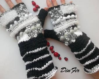 Women L 20% OFF Ready To Ship Hand Knitted Gloves Fingerless Mittens OOAK Arm Warm Wrist Warmers Winter Cabled Striped Black Mohair 1215
