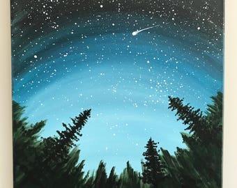 Nursery Decor, Children's Room Decor, Night Sky Scene, Shooting Star Painting, Hand Painted Night Sky