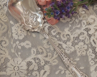 Rare EHH Smith Holly Sugar Spoon, National Silver Plate Berry Spoon, Holly Silverplate Sugar, Spoon, Holiday Serving Spoon, Holiday Flatware