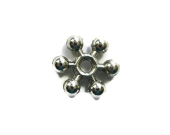 Snowflake Spacer Beads Silver Toned Brass Plated 8.5 mm