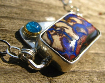 Good Deed Australian Koroit Boulder Opal and Blue Apatite Sterling Silver with 22k Yellow Gold Necklace