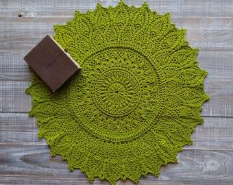 Table doily crochet Crochet doily Lace doily Crochet lace doily Glam-ma gift Lace tablecloth Green doily Green kitchen doily 20 inch doily