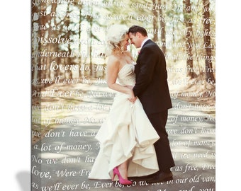 Gift Him or Her Cotton anniversary gift Photo with Words First Dance Lyrics Behind Photo Wedding, Personalized Couple Gift