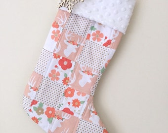 Baby Girl Stocking.Kids Stocking.Pink Christmas Stocking. Monogram Christmas Stocking. Baby First Christmas. Quilted Stocking. Deer Stocking