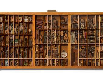 ACTUAL SIZE Lg. Hamilton Wood Type Drawer Art Print, PERSONALIZED/Customizable